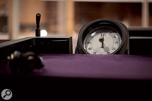 Timing is everything with film cues, as the presence of this clock on the conductor's desk testifies.