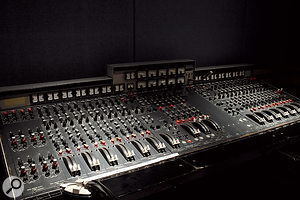 One of the studio's iconic EMI TG12345 mixing consoles in Studio 3.