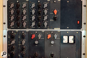 Classic outboard at Abbey Road: from left, aselection of EMI TG modules in Studio 2; one of the four Studer J37 tape recorders acquired by Abbey Road in 1965; Fairchild 660 compressor; and two of EMI's unique RS124 compressors.