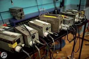 Just a few of Abbey Road's many vintage valve mic power supplies.