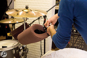 Off-cuts of acoustic foam were used around the snare and rack–tom mics to take the edge off cymbal, and particularly hi–hat, spill.
