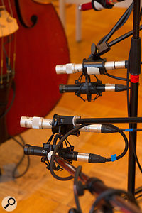 Once a more promising position had been found for the main stereo pair, there was a quick shootout between two sets of mics in that role — and the cheaper ones won out!