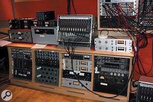 As you can see from the white labels, almost every piece of outboard in the Studio Two control room was pressed into service during tracking.