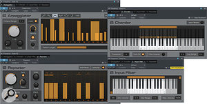Arpeggiator, Chorder, Repeater and Input Filter are your Note FX gang.