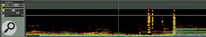 Spectral editing at the track level: this accordion part contains clattering noises that are even more unwanted than the accordion itself! If they can be seen, as here, they can be drawn around and removed; in the third screen they are no longer audible at all, yet the wanted audio has not suffered.