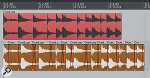 This screenshot shows adrum loop that has been 'sliced' in Reaper, to sync it to aslower project, atempo-matching technique that often sounds more transparent than time-stretching for percussive sounds.