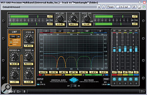 Low-ratio, low-threshold expansion is one of the few things that can help to reduce the level of reverb on amixed sample. The screenshot here shows this kind of patch running across five frequency bands in UAD's Precision Multiband plug-in.