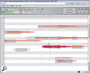 If nothing else can remove an unwanted note in the middle of amixed sample, try muting it with Melodyne Editor's Amplitude Tool — there's no guaranteeing it'll work, given that the plug-in wasn't officially designed for use on complex mixes of different instruments, but it can nonetheless perform miracles on occasion.