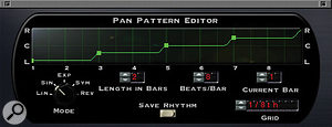 Like many of the other Sound Toys plug‑ins, PanMan provides pop‑up 'tweak' windows to give access to more detailed editing parameters, such as the shape of the panning rhythm.