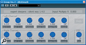 Silent Way DC simply outputs acontinuous DC voltage, but one that can be automated, allowing you to create slow filter sweeps and the like if your synth has the appropriate CV inputs.