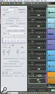 Samplitude Pro X's Audio Quantization Wizard, docked at the left of the VIP.