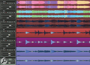 Samplitude's unique Comparasonics waveform view reflects frequency content as well as amplitude, showing clear differences between (for example) kick drum and snare hits.