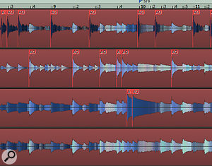Audio quantisation markers in Pro X. You would usually derive these from the transients in close-miked tracks, especially kick and snare, before applying them to the entire drum part.