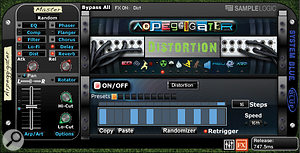 The Arpeggiator (available only to instruments in the Morphed category) is used to gate individual effects on and off. Here, it's controlling the Distortion effect.