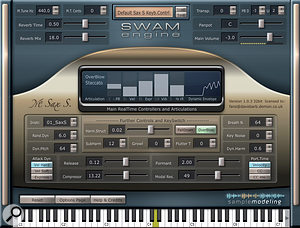 The nominally female soprano sax is the first Sample Modeling instrument formatted for the SWAM sound engine. The player groups the most important controls on its main page, along with a bar-graph displaying incoming MIDI expression data and the current vibrato rate.