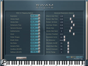 The SWAM engine's Options page opens a MIDI CC remapper and advanced parameter settings: paradise for tweakers!