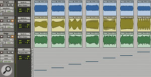 A MIDI template and the resulting waveforms from the Prophet 600 at three different filter settings in Pro Tools.