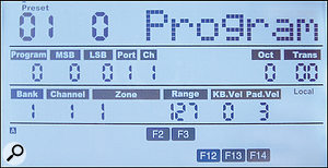 The Main mode display shows awealth of information, updating the status and values of tweaked controls in real time.