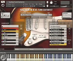 The main screen, displaying the currently loaded chord and groove maps.