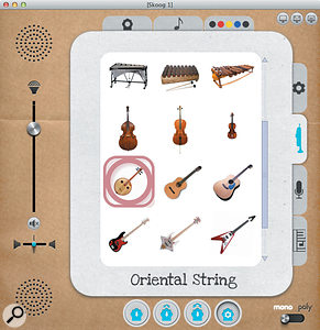 Instrument selection icons. Don't despair: all these instruments are physically modelled.