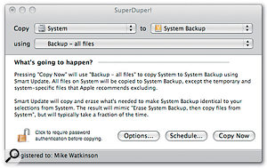 SuperDuper! makes bootable system backups with the minimum of fuss.