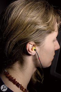 Making your own PRIR and HPEQ measurements involves sitting in a control room's sweet spot and taking measurements using these supplied binaural in-ear microphones.
