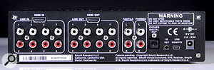 The A8 provides its eight analogue inputs and outputs on unbalanced RCA phono sockets. Eight channels of digital I/O are accommodated via the two HDMI ports, and the front-panel headphone output is duplicated on apair of phonos. One final pair of phono sockets, marked Tactile, is intended for use with a'seat shaker' type device.