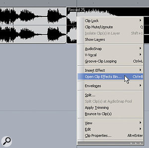 To insert an effect in an object, right click on the object and select Open Clip Effects Bin.