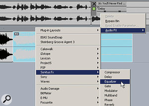 In the upper track toward the right, an object that already has delay inserted is about to have the Sonitus:fx Equaliser inserted as well. Note in the lower track that there's a small box in the upper left corner of the clip (coloured light blue) marked 'FX'. This means that there's an object effects bin inserted into this clip.