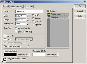 The Clip Properties window consolidates several object-oriented parameters in one place, including a display of whatever effects are included in the object's effects bin. The Audio Stretching tab offers a wealth of useful functions involving groove-clip looping, AudioSnap and time stretching.