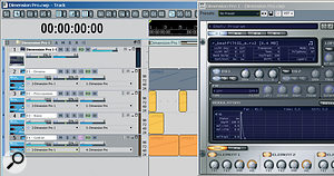 Dimension Pro is in multitimbral mode, and each Element contains aREX file. In Sonar, four MIDI tracks containing the MIDI components of the REX files drive Dimension Pro channels 1‑4. And yes, Idid load aDr: REX track icon into the MIDI tracks!