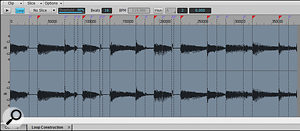 The clip has had its transient markers edited in the Loop Construction window. Sonar added the ones with the red triangles automatically, while the purple ones were added manually. The clip is 16 beats long and is being transposed up by three semitones.
