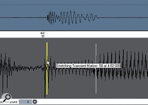 Transient markers are visible, but note that they don't all line up precisely with the kicks. We need to line them up to create agrid that other tracks can follow.
