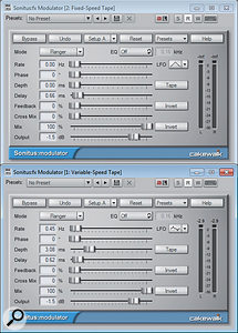 Modulator Settings: The upper Modulator is set to afixed delay and provides the dry part of the flanger effect. The lower modulator allows for avariable delay to create the flanging effect itself.