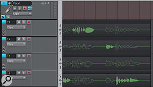 The Isolate function has selected the best phrases (as indicated by solid waveforms, as opposed to the outlined, muted sections) from loop-recorded clips. Take 4 didn't have anything worth keeping, so nothing is selected.