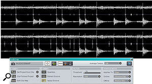 The upper clip shows transient markers with AudioSnap's default settings. The lower clip shows the results of setting amuch lower threshold (six percent), and restricting resolution to 16th notes. Several transients that are missed in the upper clip are identified correctly in the lower one.