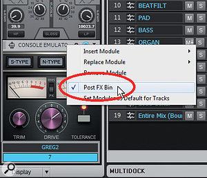 Placing the ProChannel post-effects bin and inserting the Console Emulator plug-in as the last effect in the ProChannel guarantees that all effects in the track will go through the Console Emulator.
