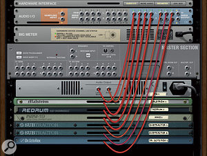 This screenshot shows the outputs from a variety of Reason instruments being patched directly to the Audio I/O. These channels appear in Sonar as individual outputs for the various instruments.