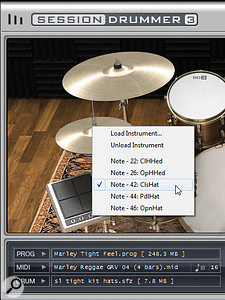 Right-click on a drum in the Drumkit or Mixer page, and you can see the notes that will trigger that particular sound or, in the case of the hi-hat, variations on the sound.