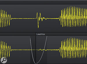 The Remove Silence function can clean up noise between phrases automatically.