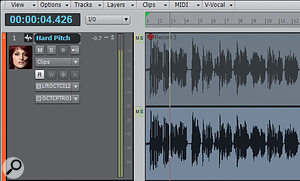 Track layers have been turned on, so you can see the original, muted clip on top, and the former (now bounced) V-Vocal clip underneath.