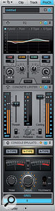The Console Emulator Channel comes last in this chain, after the EQ and Concrete Limiter. Note the clip LEDs to the left of each module's bypass button; make sure these aren't lit up solid red, as that indicates distortion occurring within the ProChannel.