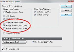 If you plan to insert Reason as a ReWire device because you've already composed something in Reason and want to send a mixed output, or you don't want to deal with patching synth outs to the Reason Audio I/O, choose 'First Synth Audio Output'. If you want separate outputs for each Reason soft synth, choose 'All Synth Audio Outputs: Stereo'.