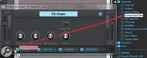 You can drag additional effects into an existing effects chain. When you do, the effect's GUI opens automatically for editing.