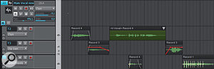 Take Lane 2 has aV-Vocal clip, the clips in Take Lane 3 have clip automation, and Take Lane 4 is showing transients so the timing on acouple of notes can be fixed. Most of the clips have fades, and have had their gains adjusted for consistency.