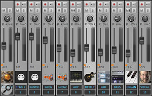 The little orange squares indicate faders that belong to aQuick Group. Note that the MIDI tracks are not affected, as Quick Grouping affects only like tracks (audio, MIDI, or bus).