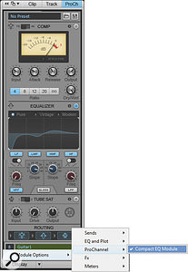 Choosing Compact EQ Module shrinks the amount of space required by the EQ, but you can still adjust all EQ parameters graphically by clicking and dragging in the EQ plot.