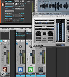 The vocal track is being sent to two reverb buses. Note that the Reverb 1 bus has Channel Tools inserted in the FX Bin to provide phase changes; unlike audio channels, buses don't have adedicated phase‑flip button.