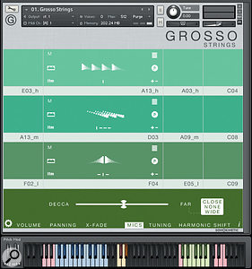 Grosso's phrases are presented in colour-coded fields which indicate the respective ranges of each section. Volume, panning, microphone selection and balance, and other controls appear when you click on the bottom colour strip.