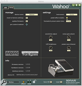 Digging deeper, the Wahoo offers in-depth settings to adjust things like input sensitivity to suit the instrument you're using.
